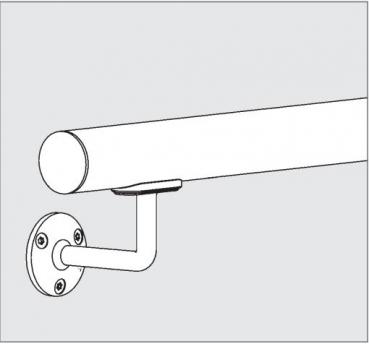 Beispiel:L/änge 40 cm mit 2 Halter Edelstahlhandlauf L/änge 0,3m 6m aus einem St/ück /& unterschiedlichen Endst/ücken zum Ausw/ählen /Ø 42,4 mm mit gewinkelte Halter Enden mit halbr/&e Kappe